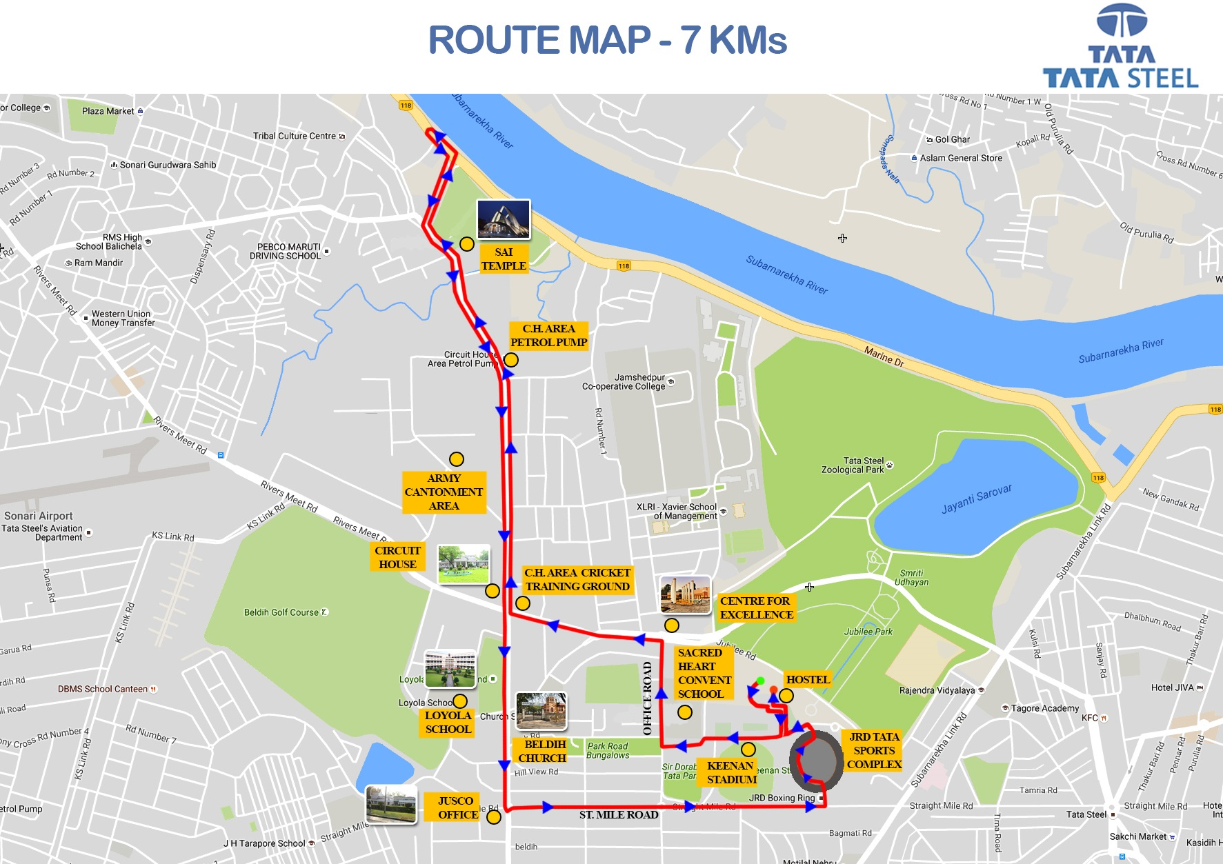 Route Map Of TATA Steel Jamshedpur Runathon Nov - How to map a run